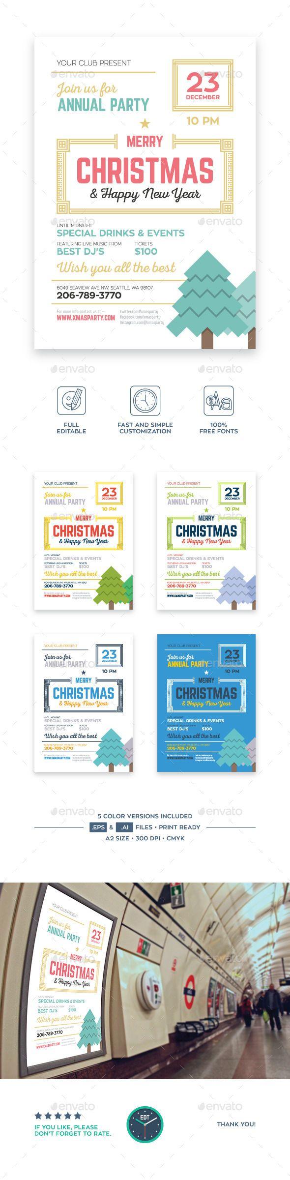company christmas party invitation templates%0A Christmas Party Poster Vector Template EPS  AI  design  xmas Download  http