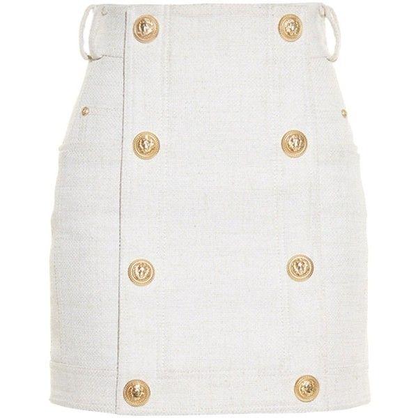 Balmain Button-front mini skirt (£725) ❤ liked on Polyvore featuring skirts, mini skirts, bottoms, saias, balmain, light beige, beige skirt, military skirt, beige mini skirt and button front skirt