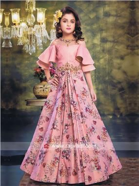 bc8601131a05 Flower Print Designer Gown for Kids