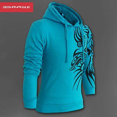 Manwan gåtur ® mænds mode dragon print slim fit lynlås hoodie – DKK kr. 141