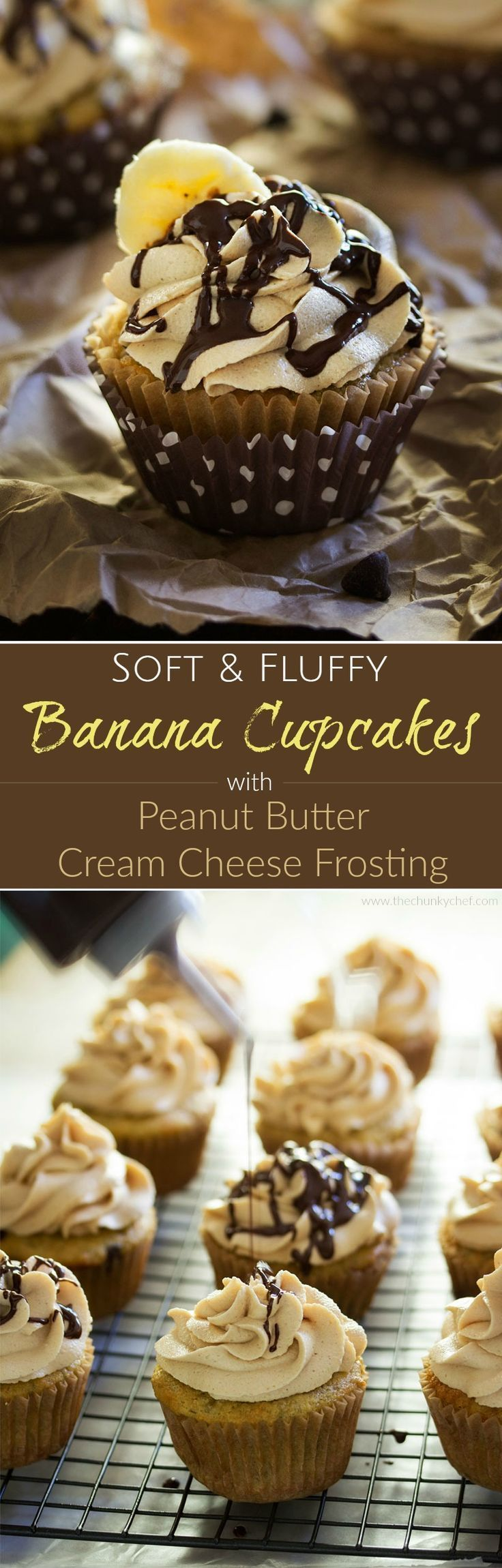 Banana Cupcakes   Unbelievably soft banana cupcakes are frosted with a creamy peanut butter cream cheese frosting that's kissed with honey, and drizzled with chocolate!