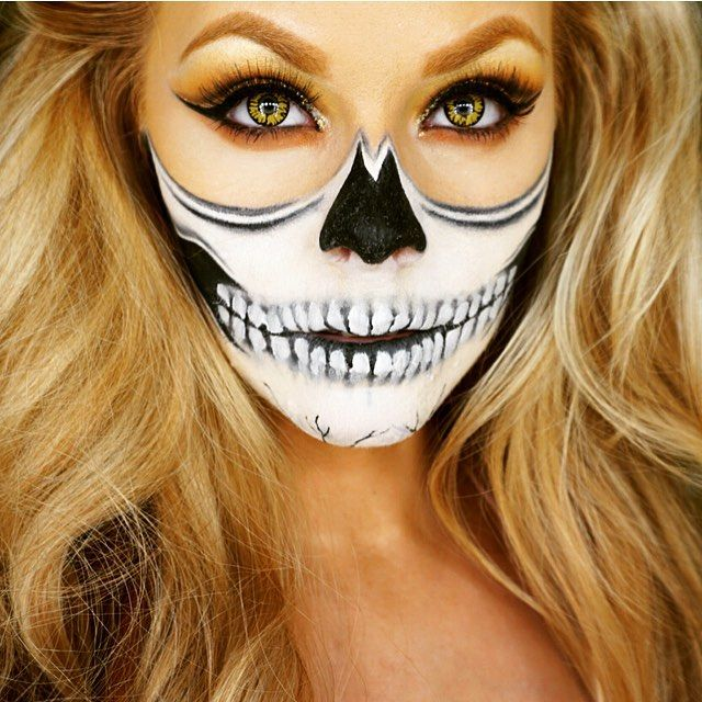 @chrisspy inspired half skull makeup look from the other day  Used @kryolanofficial Aquacolor makeup palette in black & white for skull  #chrisspy #chrisspymakeup #skull