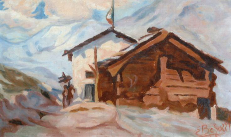 E. Besozzi pitt. 1934 Paesaggio di montagna olio su tavola cm. 23,5x29,5 arc. 777