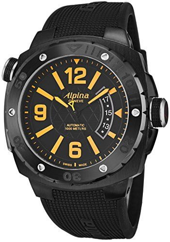 striking Alpina Extreme Diver 1000 Meters Mens 45mm Black Face Black Rubber Strap Luminescent Diving Watch - Swiss Automatic Waterproof Dive Watch AL-525LBO5FBAEV6