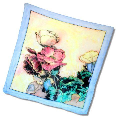 Prekrásna šatka MAK z kvalitného hodvábu s nádychom prírody. Na hodvábnej šatke sa nachádzajú ručne maľované maky. http://bit.ly/1prKoRe