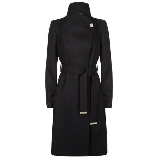 Ted Baker Lorili Button Detail Long Wrap Coat ($425) ❤ liked on Polyvore featuring outerwear, coats, button coat, ted baker, wrap coat, long wrap coat and waist belt