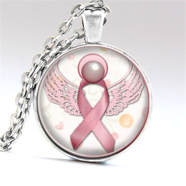 Angel Pink Breast Cancer Awareness Ribbon Swirl Heart Pendant Necklace Glass Art Print Jewelry Charm Gifts for Girls and Ladies