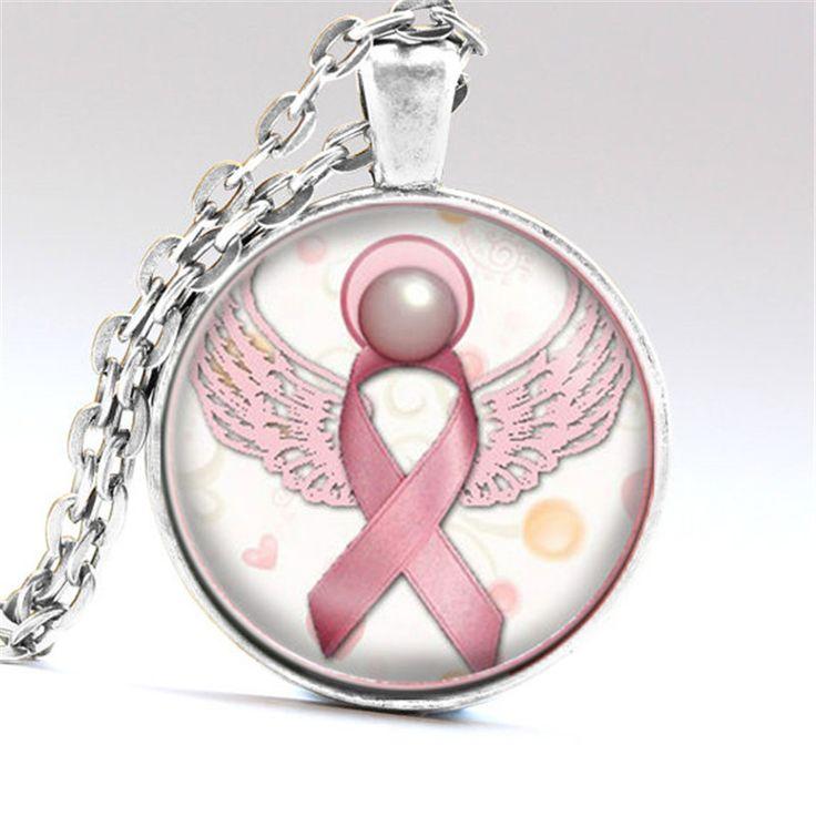 Ange Rose Sensibilisation au Cancer Du Sein Ruban Swirl Coeur Pendentif Collier En Verre Art Imprimer Bijoux Charme Cadeaux pour les Filles et Dames