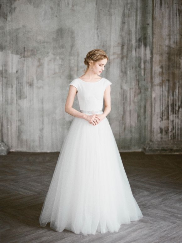 Cap sleeve wedding dress Uda by Milamira Bridal // natural white wedding gown with romantic tulle skirt with train