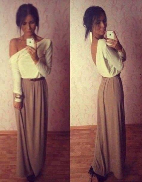 Skirt: maxi brown, t-shirt - Wheretoget