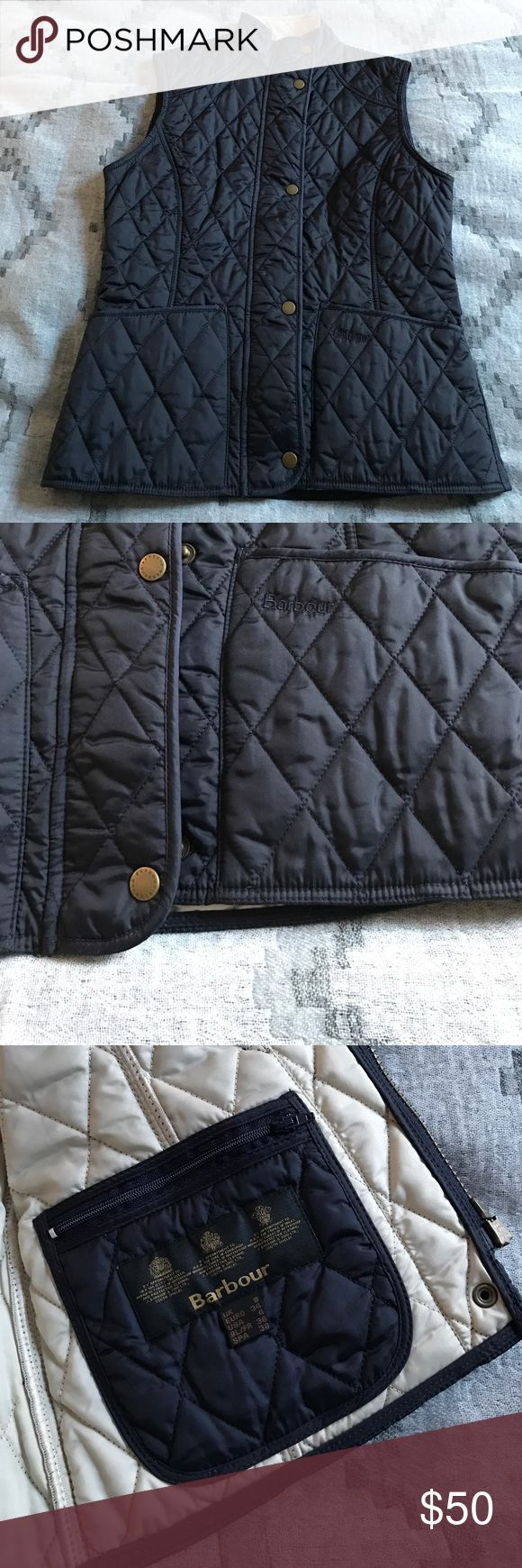 "Barbour Ladies Summer Liddesdale vest navy, US 4 Navy with cream lining Barbour Ladies Summer Liddesdale vest. Worn once. Size US 4 (runs tts) with snaps at back to taper slightly if desired. Zip and snap closure. Patch pockets with navy ""Barbour"" logo embroidery. Barbour Jackets & Coats Vests"