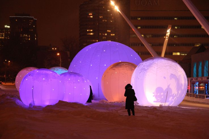 """Lucion - """"Sphères Polaires"""" in Montreal, light installation  http://www.lucionmedia.ca"""