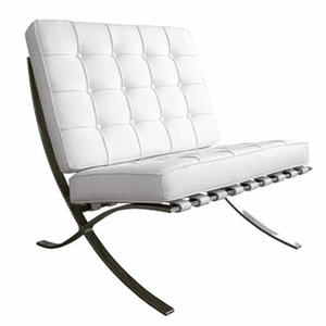 Barcelona Chair: White Chairs, Living Rooms, Vans Of, Der Rohe, Mie Vans, White Barcelona, White Leather, Furniture, Barcelona Chairs