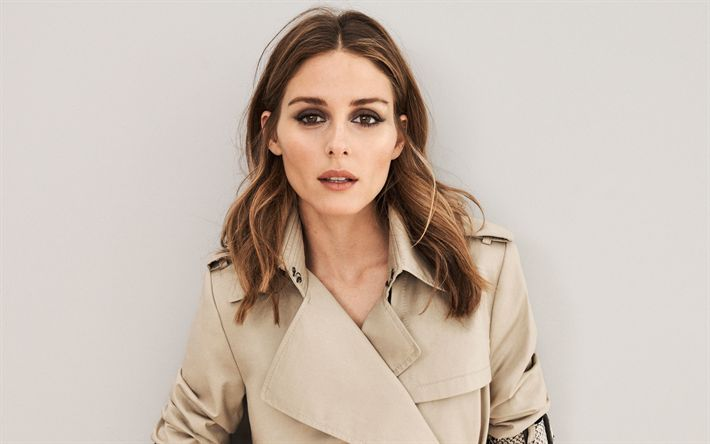 Download wallpapers Olivia Palermo, American fashion model, 4k, beautiful woman, photoshoot, beige stylish coat