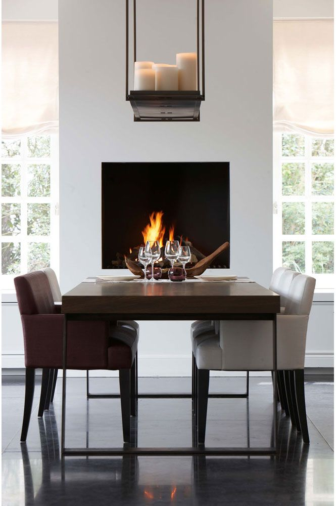 Modern fireplace in dining room