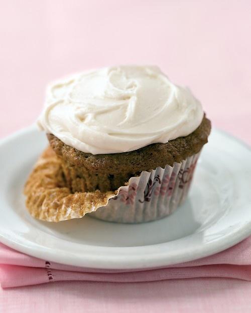 Sweet Zucchini Cupcakes - Martha Stewart RecipesZucchini Recipe, Frostings Recipe, Cupcakes Recipe, Cupcakes Art, Zucchini Cupcakes, Squashes Recipe, Buttercream Frosting, Sweets Zucchini, Cream Cheese Frosting