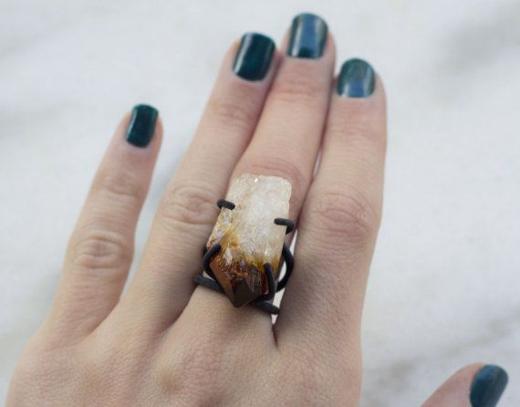 RAW CITRINE RING Solitaire Ring Oxidized by NARCISSUSJEWELRY