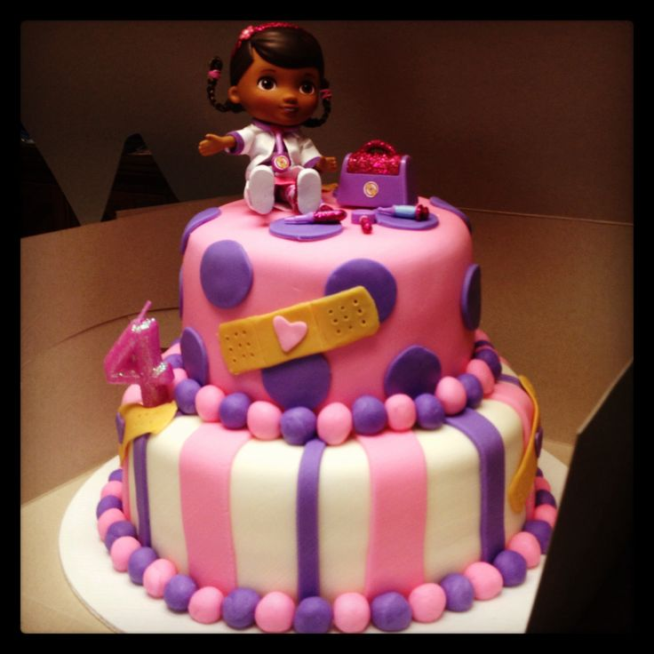 Doc McStuffins CakeInitial Thoughts: I like.. need to add her name and incorporate blue (like Stuffie)