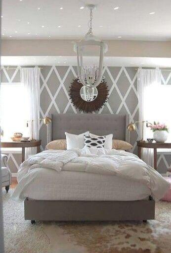 Gray wallpaper. Master bedroom Wallpaper bedroom Pinterest