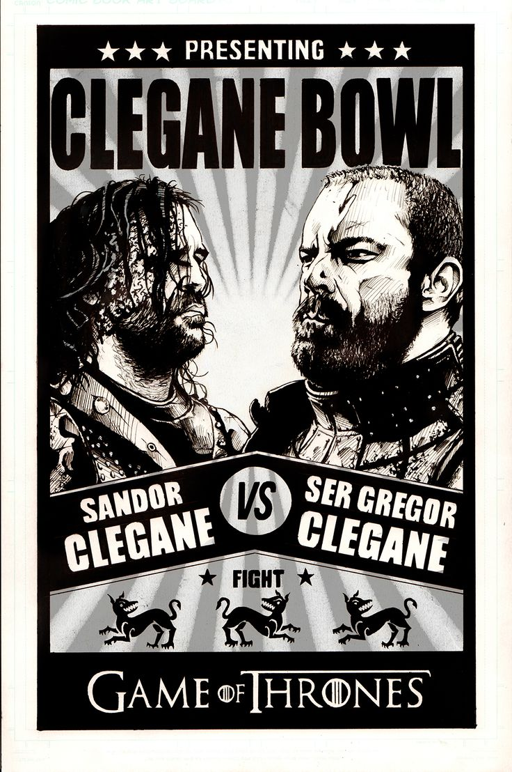 Game of Thrones The Hound vs The Mountain black pen and ink drawing with digital starburst in the background