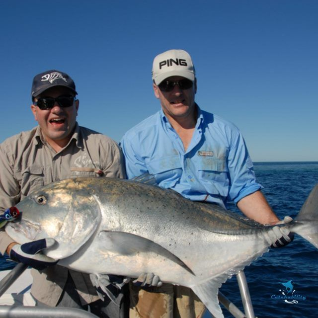 """Giant Trevally – GT – caught by Darren with a lure popper """"tough fight""""."""