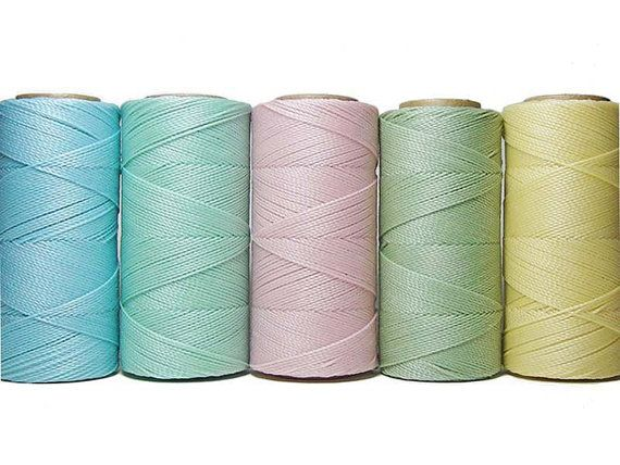 Macrame Cord set - Waxed Polyester  - Macrame Thread - Set of 5 Colors - 10 meters each color - Pastel