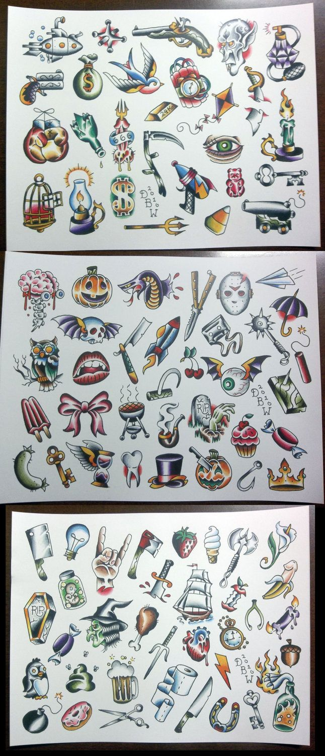 3 Pc Pork Chop Sheet set NeoTraditional Tattoo Flash by DerekBWard, $20.00
