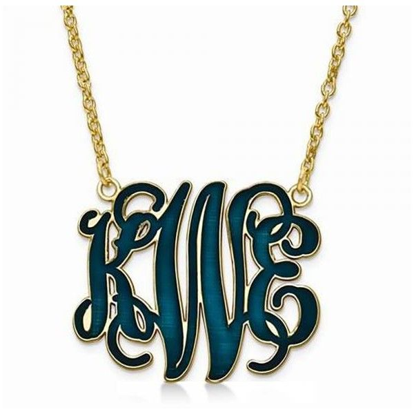 Allurez Enamel Monogram Initial Pendant Necklace Yellow Gold, Sterling... ($280) ❤ liked on Polyvore featuring jewelry, necklaces, yellow, yellow jewelry, initial pendant necklace, sterling silver monogram jewelry, gold pendant necklace and gold jewelry
