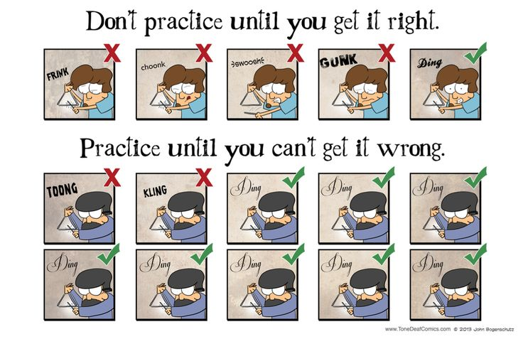 """Don't practice until you get it right, practice until you can't get it wrong. The poster is 17"""" x 11""""."""