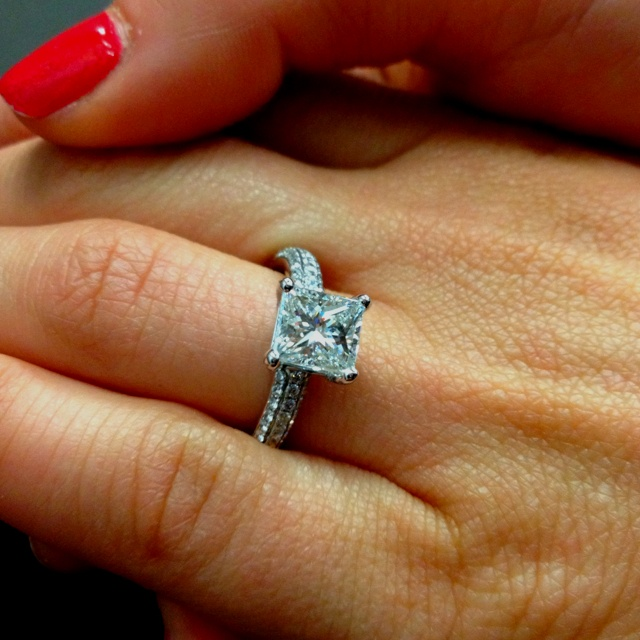 princess cut engagement ring add ones around the