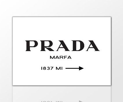 BERGER DESIGNS - Wandbild Prada Marfa modern Kunstdruck Schwarz Weiss Leinwand - Verschieden Varianten Wählbar! (Weiß, 80 x 120 cm)