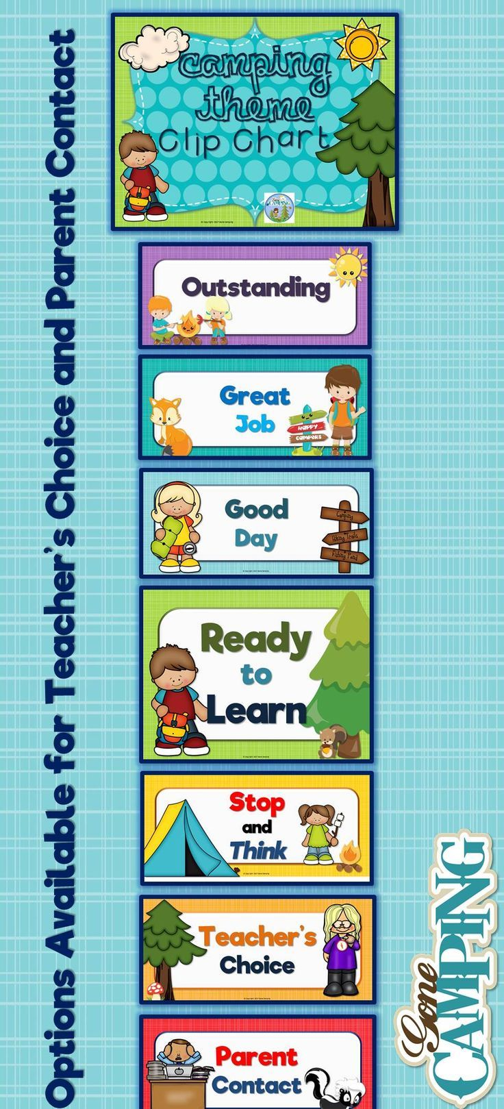 Camping Theme Behavior Clip Chart includes: Outstanding Great Job Good   Day Ready to Learn Stop and Think Teacher's Choice (several versions   available) Parent Contact (male and female versions)