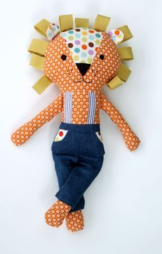 17-inch Stuffed Fabric Lion Doll by LiaAndLucy on Etsy