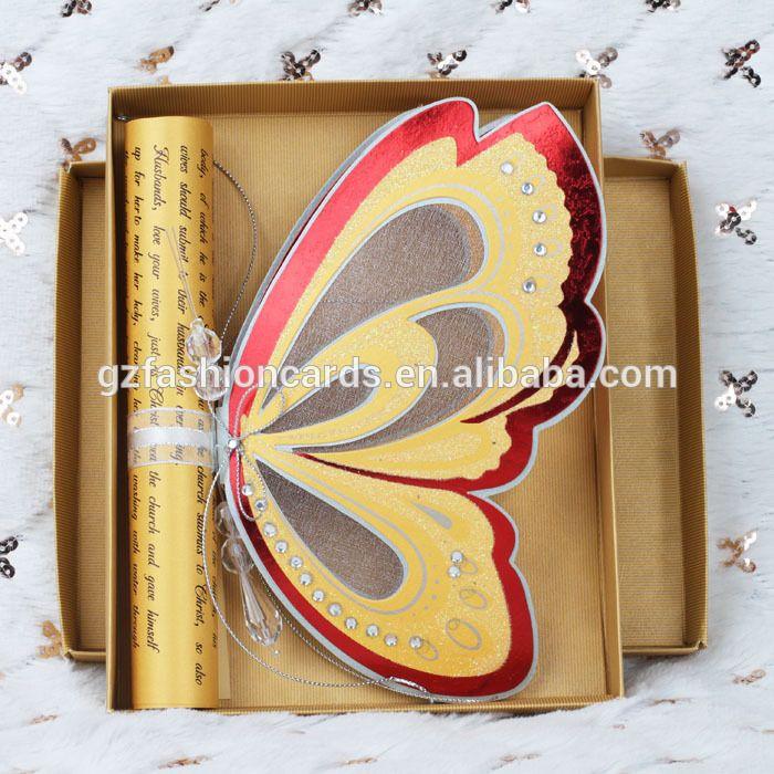 Calidad superior de lujo diseño de la mariposa voluta invitaciones de la boda en blanco