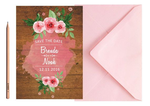 Boho Vintage Wedding SAVE THE DATE  Pink by LoveArtsStationery
