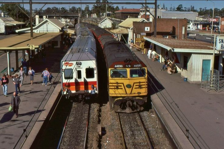 44230 on a Southern Highlands line passenger train and a Sydney-bound Goninan K set at Lidcombe, NSW,1986.