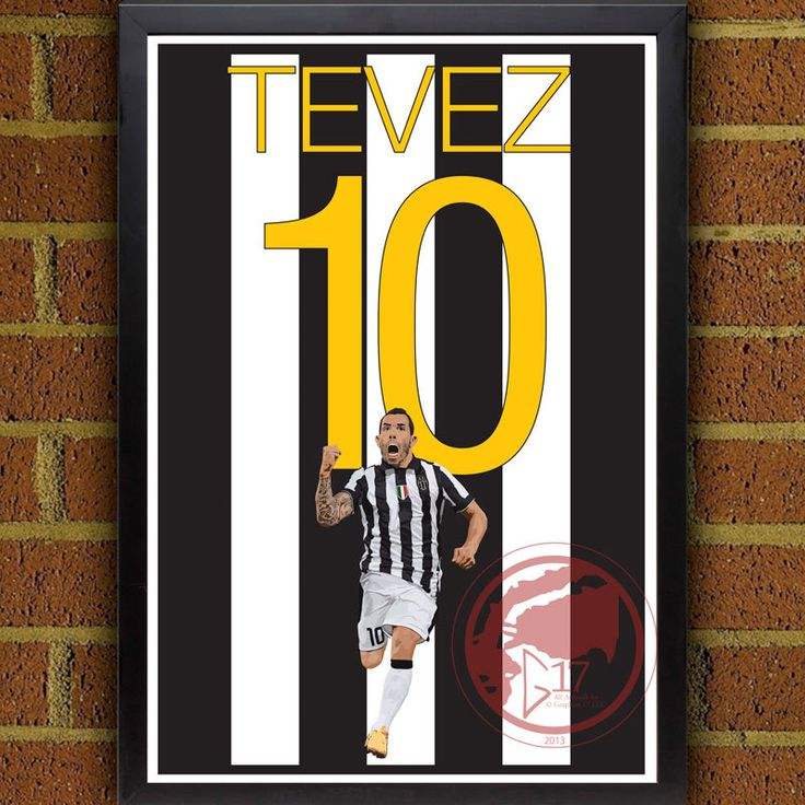 Carlos Tevez Juventus Poster - Juve Soccer Poster- 8x10, 8.5x11, 13x19, poster, art, wall decor, home decor, serie a, Argentina Striker #soccer #wallart #decor #canvas #art #poster #graphicdesign #soccerart #football #futbol #etsy #g17 #graphics17 #etsy #juve #juvetus #serieA #uefa #championsleague