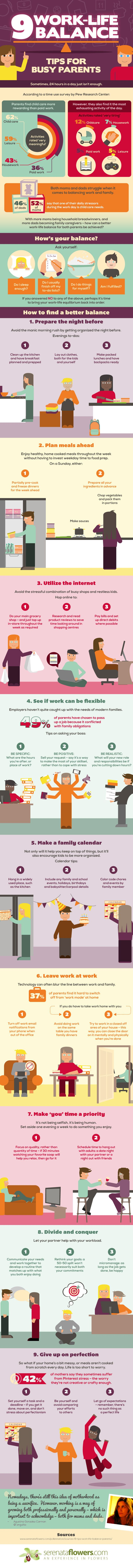 9 Work Life Balance Tips For Busy Working Parents (Infographic)