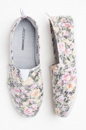 Floral lace loafers