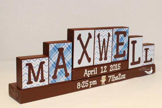 Baby Name Blocks, Personalized Birth Stats Sign, Painted Baby Wooden Blocks, Baby Keepsake, 7 Letters First Name