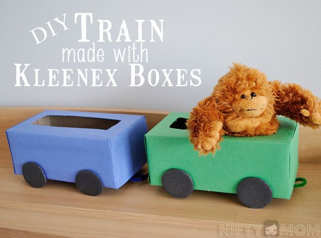 DIY Train Made with Kleenex Boxes #KleenexTarget #PMedia #ad