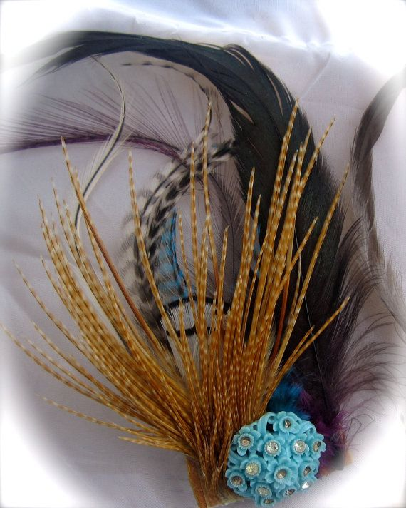 Feather Vintage Bead Hair Clip by earthdream on Etsy