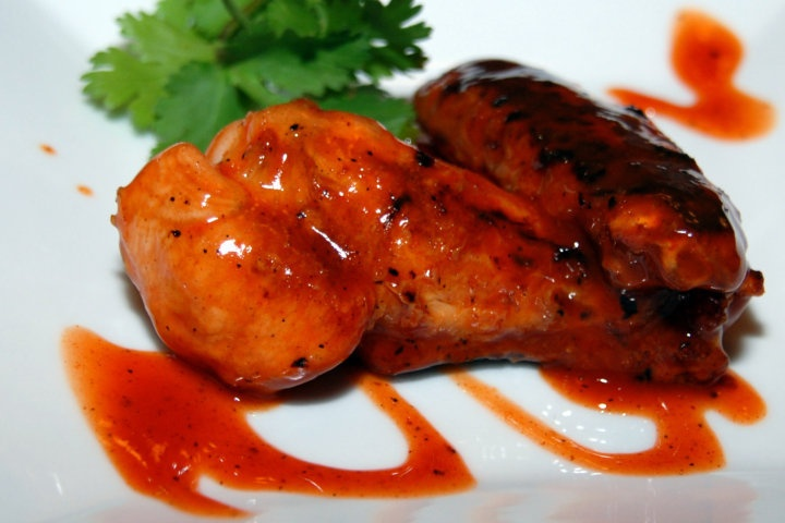 Grilled chicken wings with Habanero wing sauce
