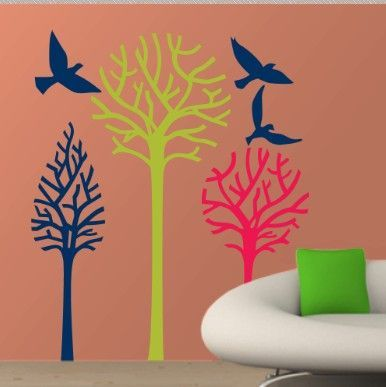 Birds & Trees γήινα χρώματα,  αυτοκόλλητο τοίχου,19,96 €,http://www.stickit.gr/index.php?id_product=607&controller=product
