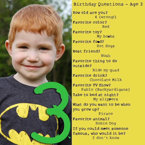 Birthday Questions!  Ask your child every year on their birthday.