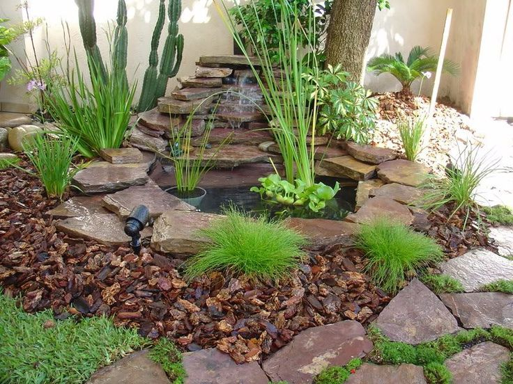jardin zen con cascada