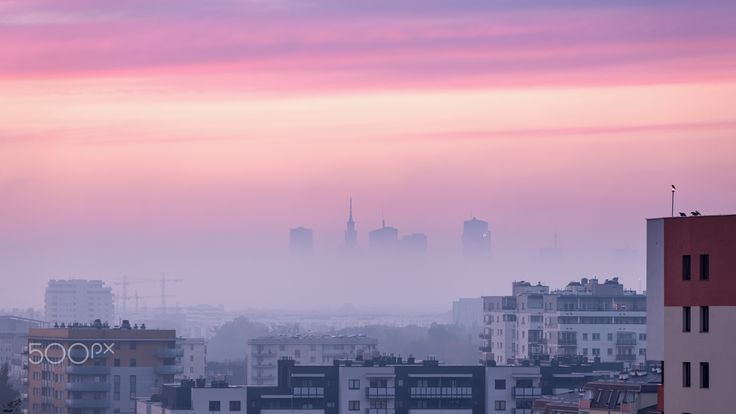 Pink foggy Warsaw morning - Early morning form my window with very nice autumn sunrise colors.