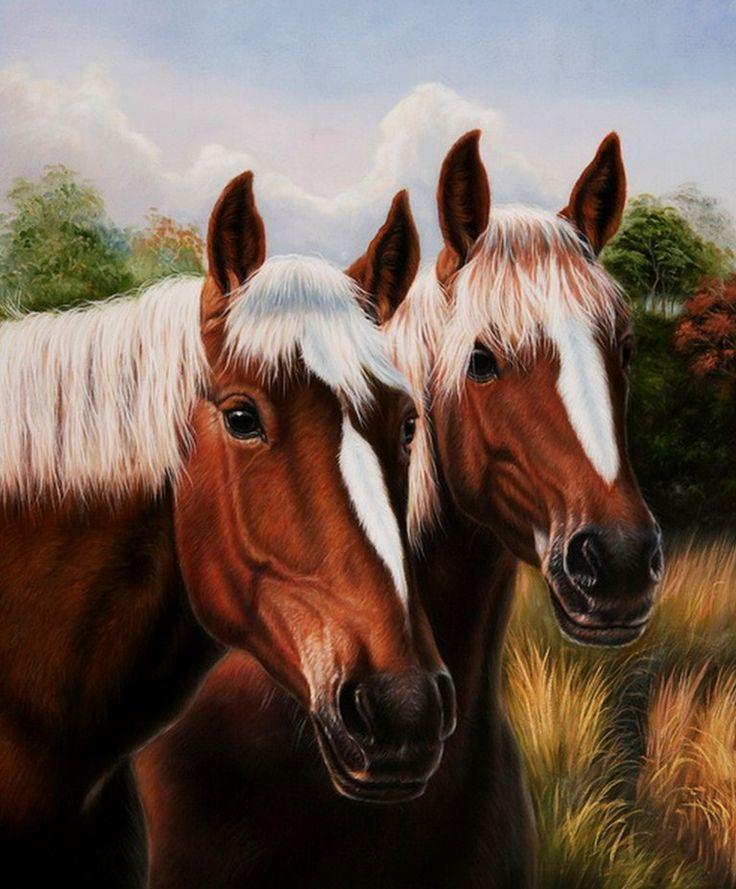 Dos Cabezas de Equinos Pinturas al Óleo de Caballos Caballos Pintados en Óleo Sobre Lienzo      Dos Cabezas de Equinos  Pinturas al Óleo d...