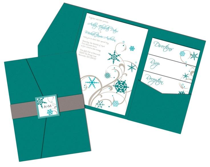 Pocket Folder Wedding Invitation Kits: Snowflakes Wedding Invitation Sample