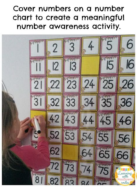 Create number awareness by covering numbers and then the student fills in the blanks - Learning with Sunflower Smiles